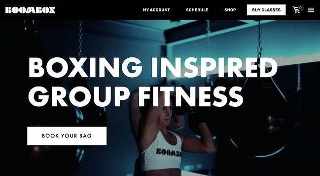 fitness website example: Boombox Boxing