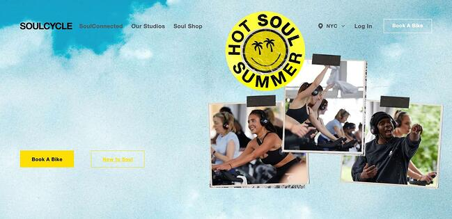 fitness website example: soulcycle