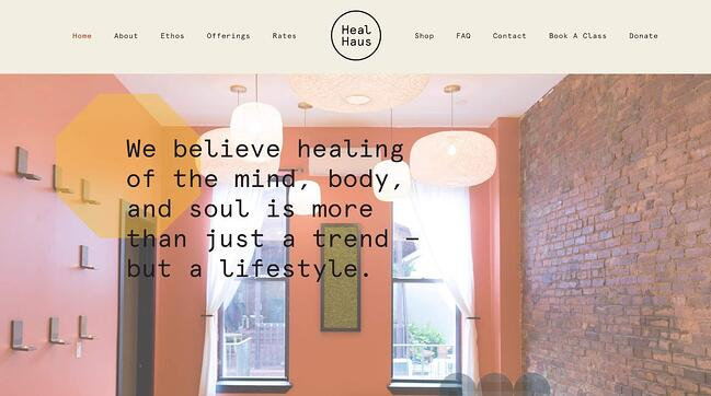 fitness website example: HealHaus
