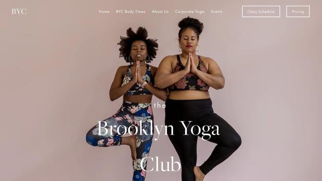 fitness website example: BK Yoga Club