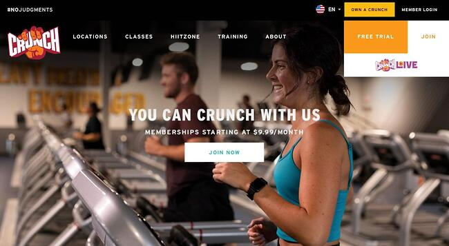fitness website example: Crunch Fitness