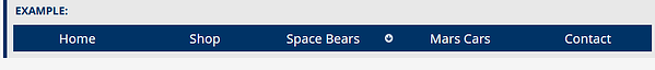Navigation bar with five links - Home, Shop, Space Bears, Mars Cars and Contact. There is a down arrow button after Space Bears..