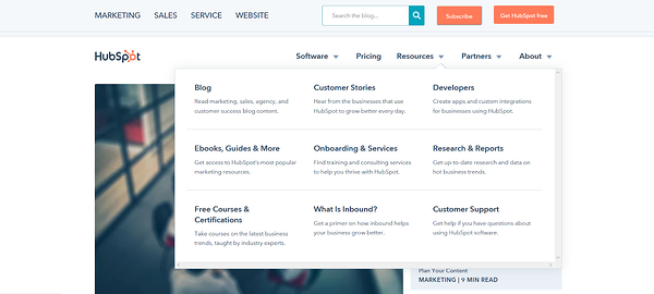HubSpot blog Resources mega menu with nine headed sections and links.