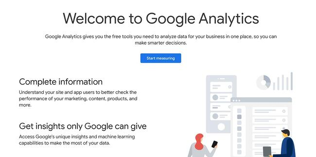 wordpress google analytics: sign up page for google analytics