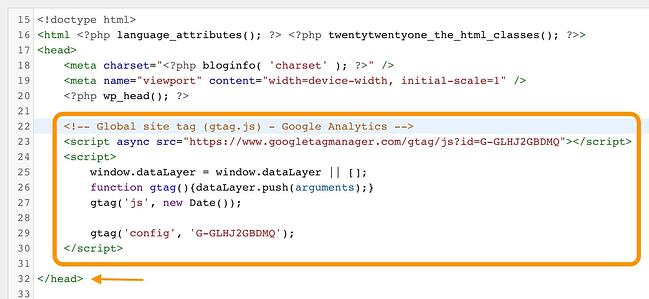 wordpress google analytics: tracking code pasted into the wordpress header.php file