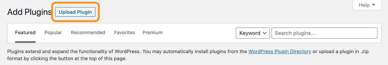 the upload plugin button in the wordpress dashboard