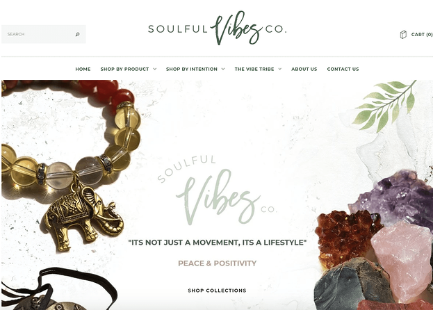 Soulful Vibes Co. homepage, an example of rule of thirds in web design