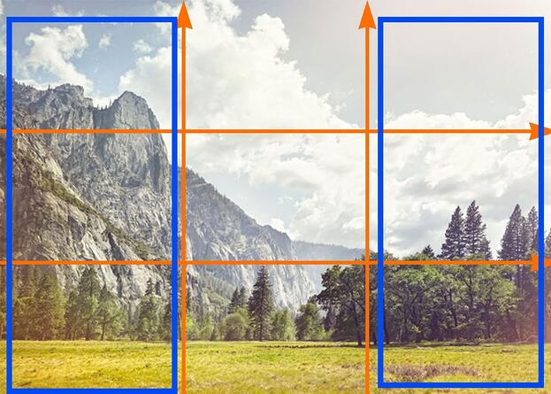 the left and right thirds section on a rule of thirds grid