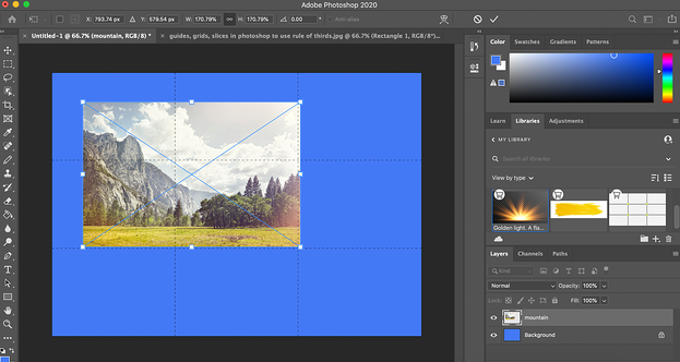 A complete rule of thirds grid in Photoshop with an image transposed on top of it.