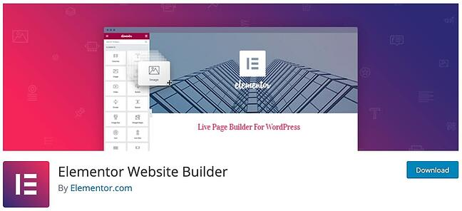 product page for the WordPress plugin elementor page builder
