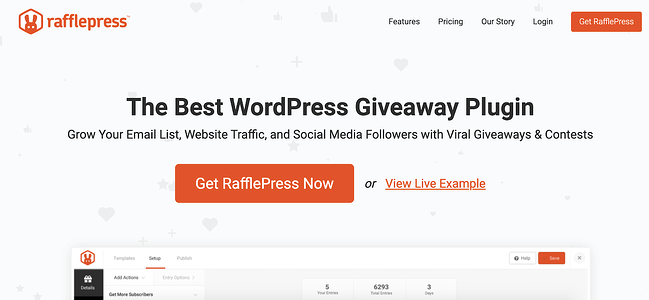 product page for the WordPress plugin rafflepress