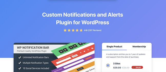 product page for the WordPress plugin wp notification bar pro