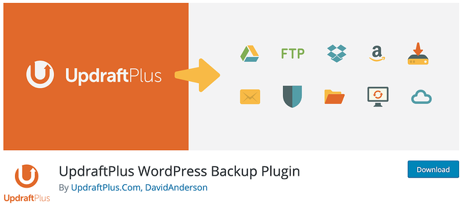 product page for the WordPress plugin updraftplus