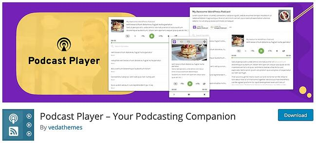 product page from the podcast wordpress plugin podcast player