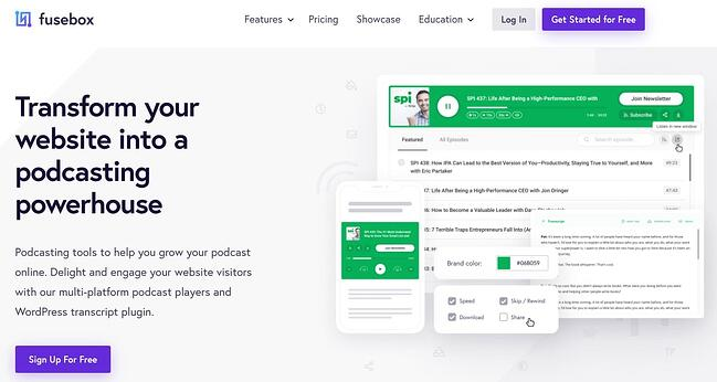 product page from the podcast wordpress plugin fusebox