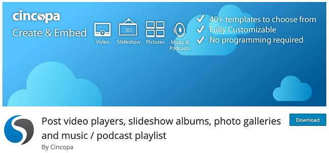 product page from the podcast wordpress plugin cincopa