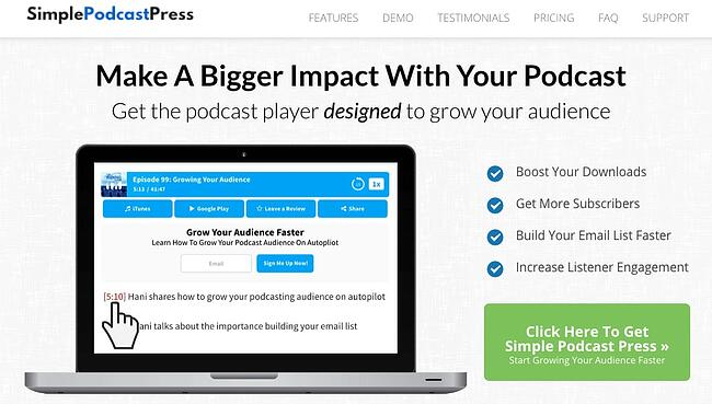 product page from the podcast wordpress plugin simple podcast press