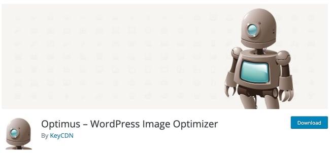 download page for the wordpress image optimization plugin optimus