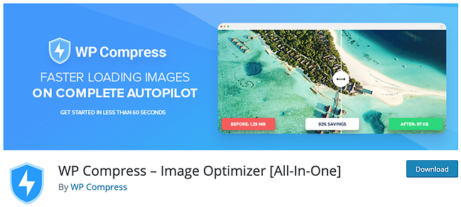 download page for the wordpress image optimization plugin wp compress