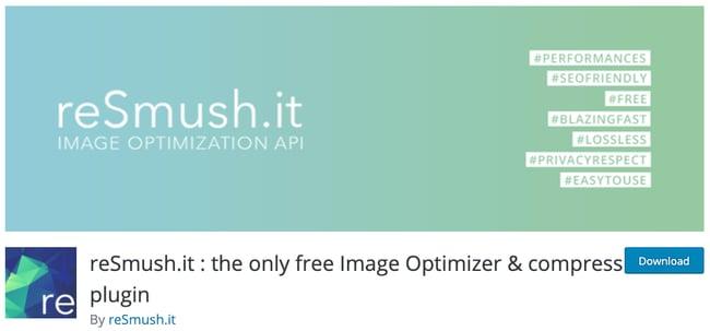 download page for the wordpress image optimization plugin resmush it