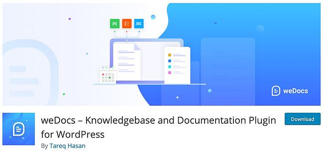 product page for the wordpress knowledge base plugin wedocs