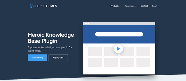 product page for the wordpress knowledge base plugin heroic knowledge base