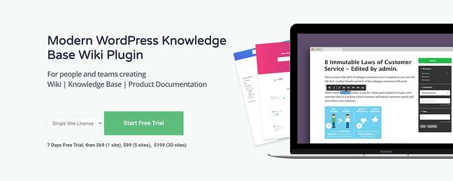 product page for the wordpress knowledge base plugin helpie wp