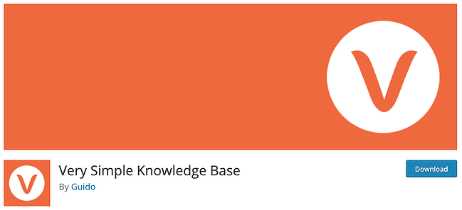 product page for the wordpress knowledge base plugin very simple knowledge base