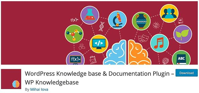 product page for the wordpress knowledge base plugin wp knowledgebase