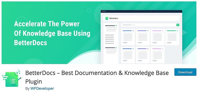 product page for the wordpress knowledge base plugin betterdocs