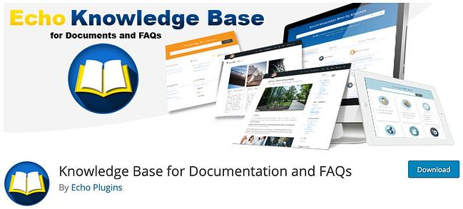 product page for the wordpress knowledge base plugin echo knowledge base