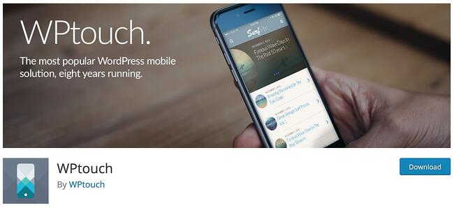 product page for the mobile-friendly wordpress plugin wp-touch
