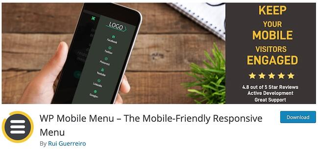 product page for the mobile-friendly wordpress plugin wp mobile menu