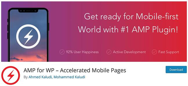 product page for the mobile-friendly wordpress plugin amp for wp