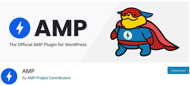 product page for the mobile-friendly wordpress plugin AMP