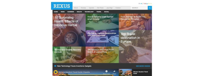 a demo of the WordPress tech blog theme Rexus