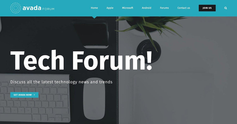 a demo of the WordPress tech blog theme Avada
