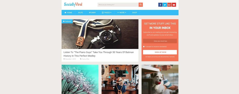 a demo of the WordPress tech blog theme SociallyViral