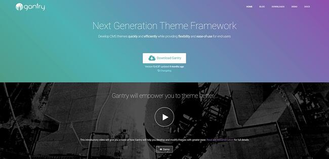 product page for the wordpress theme framework gantry