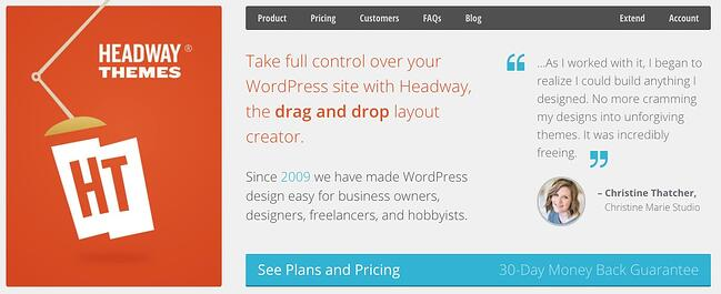 product page for the wordpress theme framework headway