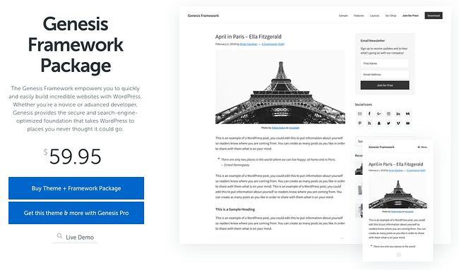 product page for the wordpress theme framework genesis