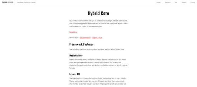 product page for the wordpress theme framework hybrid core