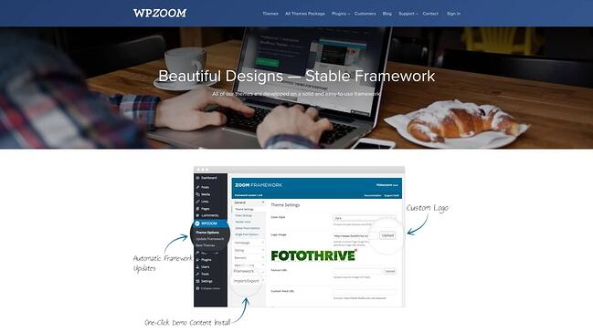 product page for the wordpress theme framework wpzoom