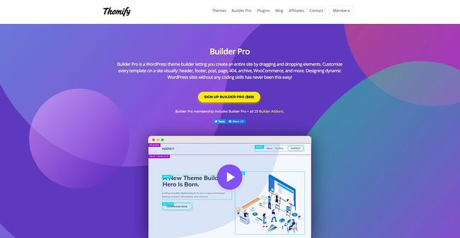 product page for the wordpress theme framework themify builder