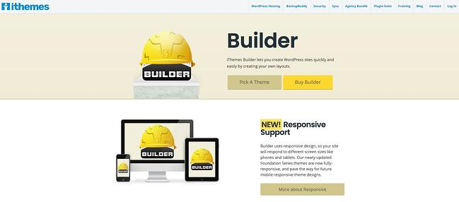 product page for the wordpress theme framework ithemes builder