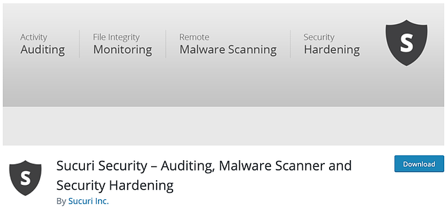 product page for the wordpress security scan plugin sucuri