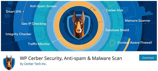 product page for the wordpress security scan plugin wp cerber