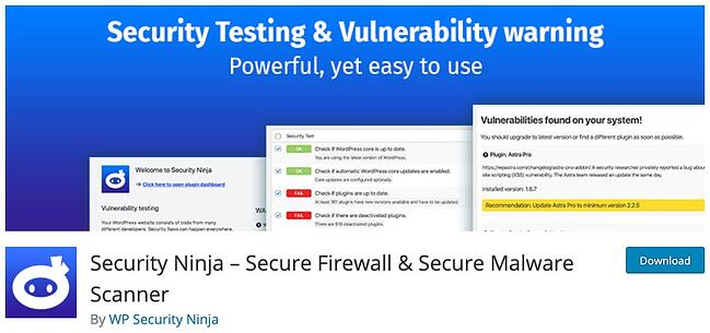 product page for the wordpress security scan plugin security ninja