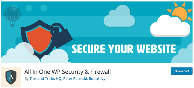 banner for the All In One WP Security and Firewall tool for WordPress security scans