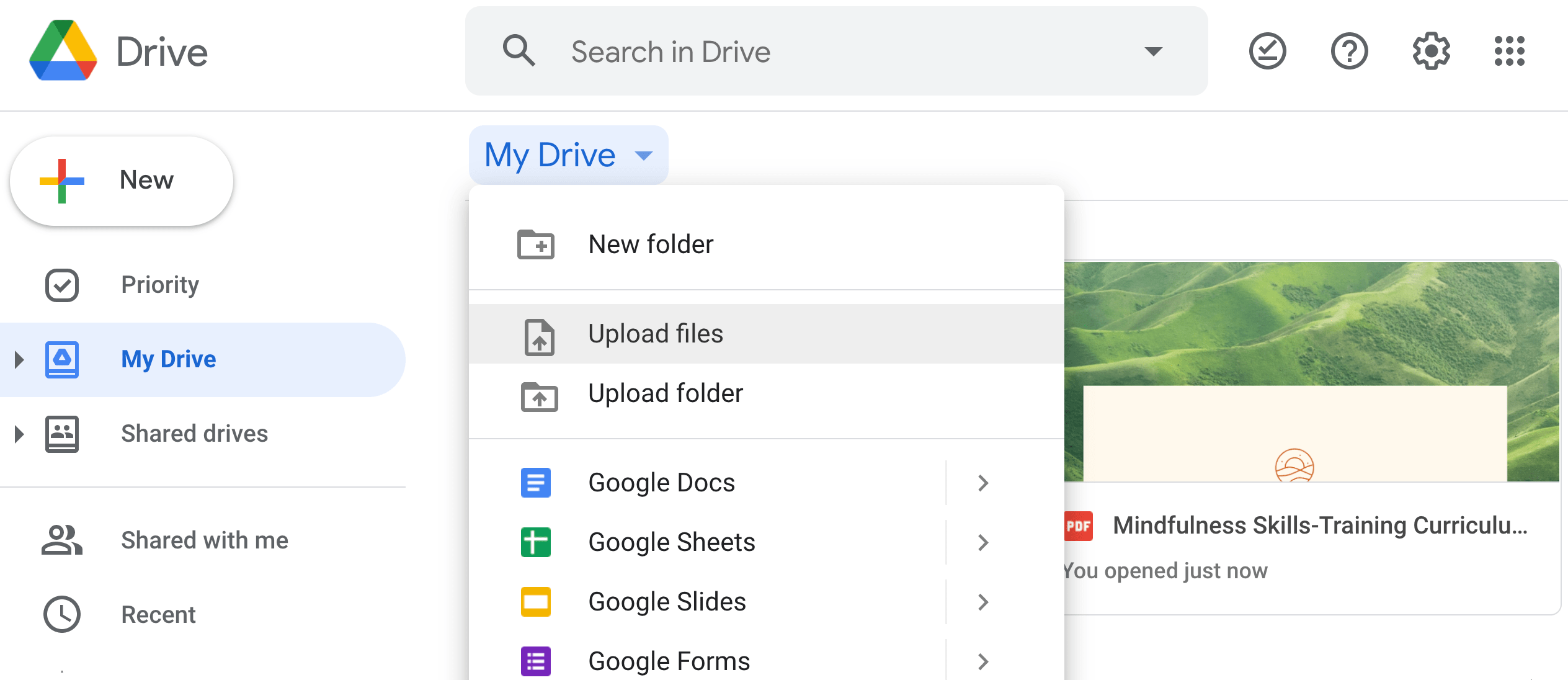 Google Drive homepage to share large files